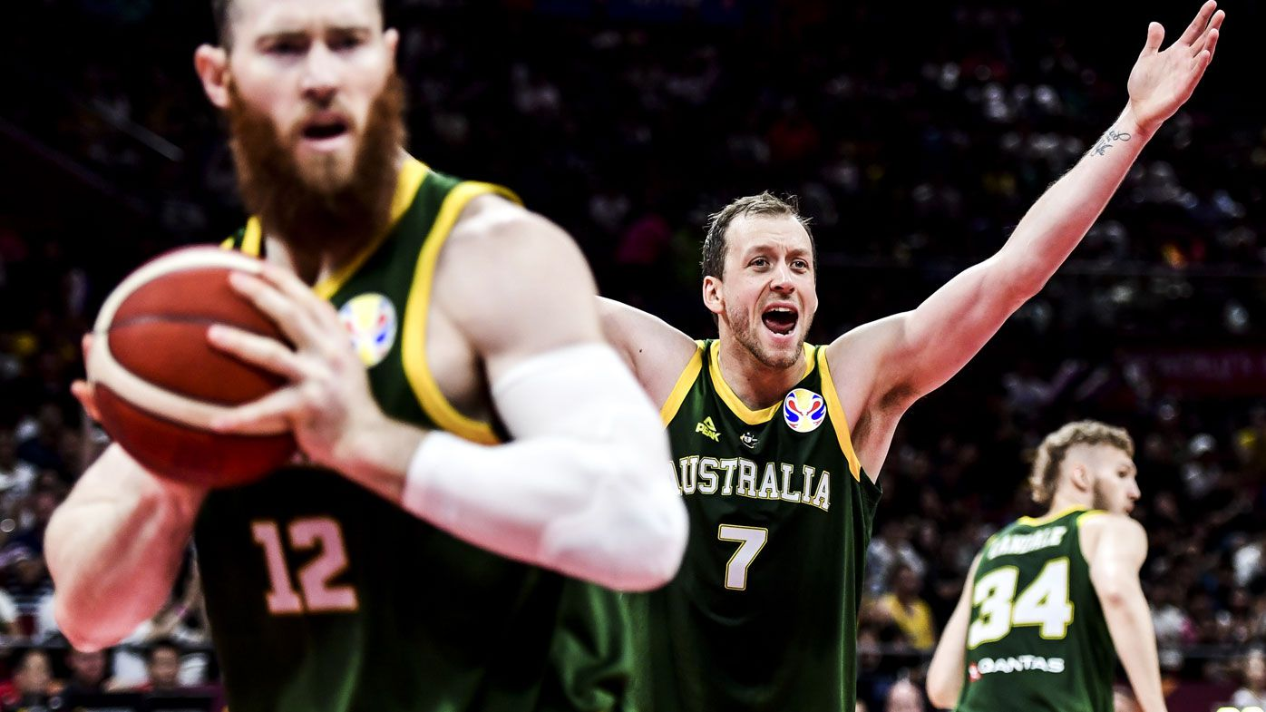 Joe Ingles of Australia reacts during the 3rd place game