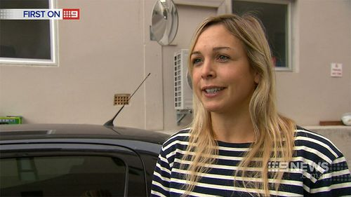 Tess Ulvesund was lucky to dive out of the path of the runaway truck. (9NEWS)