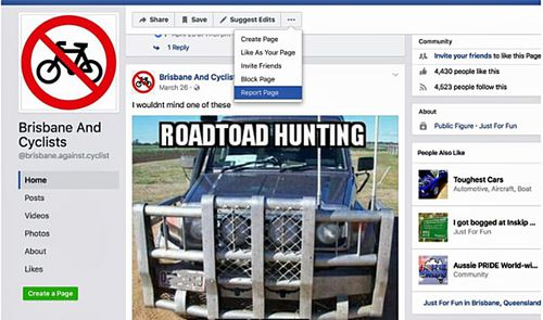 A screenshot of an anti- cyclist Facebook page, Brisbane And Cyclist, which was launched last year.