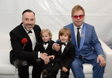 Elton John, David Furnish, sons Elijah and Zachary