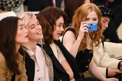 Chanel Haute Couture Spring 2017. Front row with models Liu Wen, Cecil Cassel, Olga Kurylenko and Ellie Bamber.