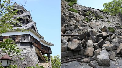 Two historic tourist spots have been damaged in the twin earthquakes that rocked Japan 24 hours apart, killing 41 people. The 250-year-old main gate of Aso Shrine has collapsed, as did a stone wall at Kumamoto castle (pictured), a stronghold that survived rebellions and attacks by warring samurai in centuries past.