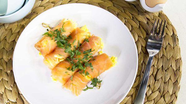 Scrambled egg, mayo and salmon rolls recipe by Australian Eggs