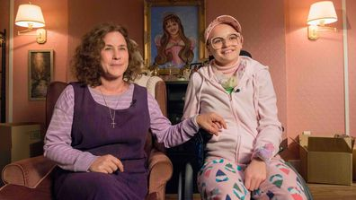 Patricia Arquette (L) as Dee Dee Blanchard and Joey King (R) as Gypsy Rose Blanchard in the Emmy Award-nominated Hulu series The Act