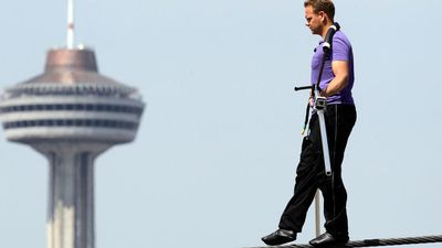 "Wallenda, known as the ""King of the Wire"" comes from a long line of tightrope walkers. In this picture he was training for a tightrope walk over Niagra Falls. (AP Photo/Aaron Vincent Elkaim, Canadian Press)"