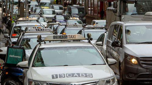 Taxis in Market street, Sydney. 19 June 2018