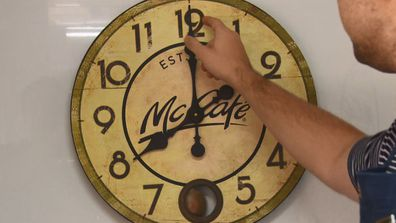 This image is not just a picture of the McCafe clock. Ok it is... but Scotty Cam uses it to TURN BACK TIME. The Block 2020.