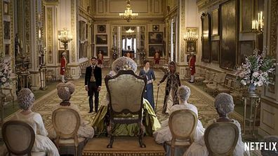 A scene from Bridgerton filmed at Lancaster House had to wrap up quickly for Queen Elizabeth, who was using the space for an event