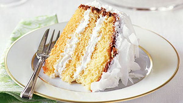 Vanilla cake with coconut icing