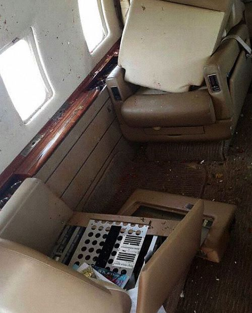 The aftermath from inside the Bombardier Challenger 64 jet. (The Aviation Herald)