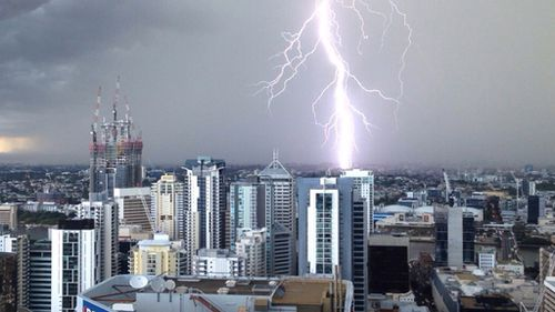 Hail and rain cause chaos in Brisbane CBD