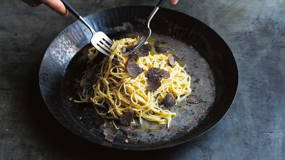 The Agrarian Kitchen's tajarin with truffle butter and truffled egg yolk