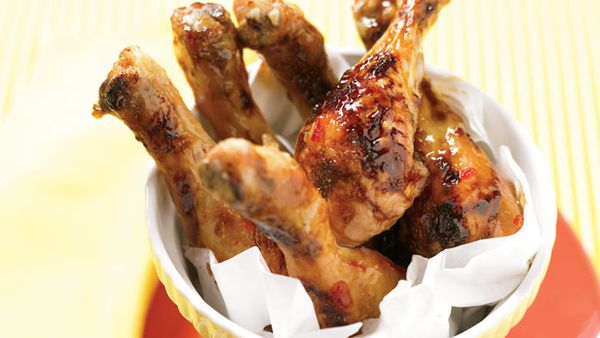 Chilli and apricot glazed legs
