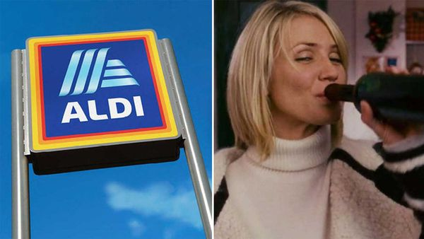 Aldi sign / Cameron Diaz drinking wine in The Holiday