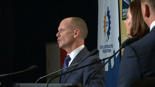 Newman was heckled by the audience while discussing his multi-billion dollar asset leasing plan. (9NEWS)