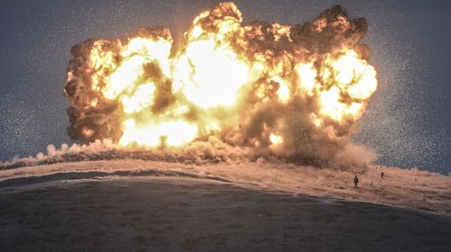 The airstrike was captured in stunning detail by photographers on the Turkish side of the border. (Getty)