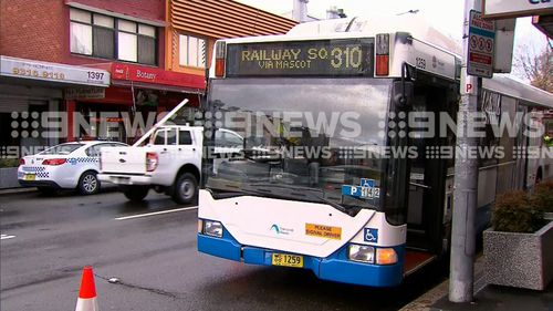 The bus was turning onto Botany Road when it collided with the man. Picture: 9NEWS
