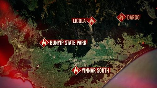 Victoria Bushfires emergency Bunyip State Park Yinnar South
