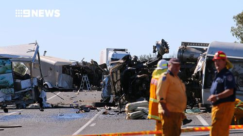 Three people died in the collision on the Newell Highway. (9NEWS)