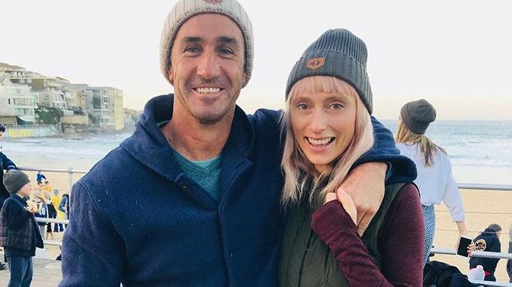Andrew Johns with his partner Kate Kendall.