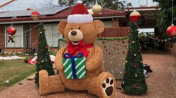 A giant teddy stolen from a Sydney home Christmas lights display has been found.
