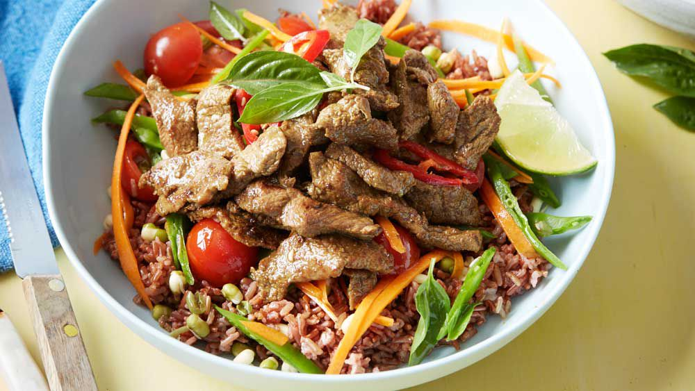Thai beef power bowl with red rice for BeefandLamb.com.au