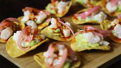 "Recipe:<a href=""http://kitchen.nine.com.au/2016/05/20/09/56/ceviche-tostadas"" target=""_top"">Ceviche tostadas</a>"
