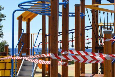 SYDNEY, AUSTRALIA - APRIL 11: Locked children's play areas at Bondi Beach on April 11, 2020 in Sydney, Australia.
