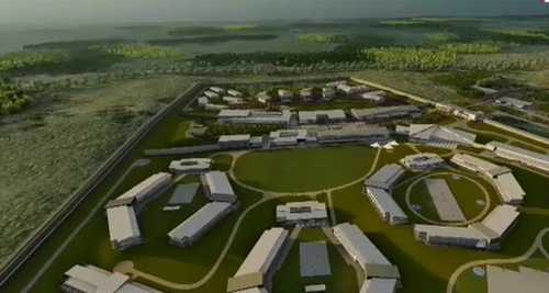 The large jail is the size of 180 football fields.