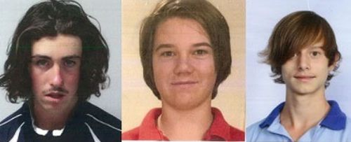 Martin (Flynn) Cawood, Cody Lynch-Stuart and Noah Read were last seen in their home city of Wodonga on Wednesday