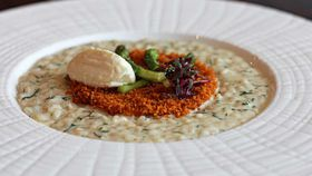 Massimo Speroni's asparagus and goat's cheese risotto with breadcrumbs