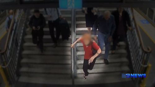 CCTV footage has revealed the accidents that can happen when people rush to catch public transport.