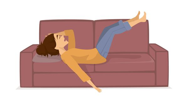 Lazy woman on couch