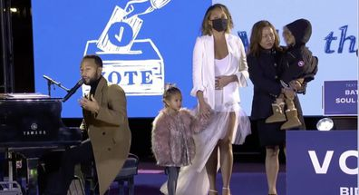 Chrissy Teigen, John Legend, election rally, Philadelphia, first public outing, pregnancy loss
