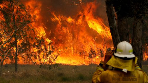 A firefighter battles a blaze in Old Bar, NSW on Saturday.