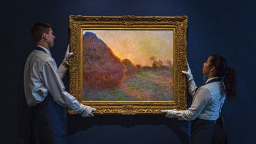 """This undated photo provided by Sotheby's shows Claude Monet's painting titled """"Meules"""". The painting, one of Monet's iconic paintings of haystacks, has fetched a record $110.7 million (AUD $160m) at an auction in New York."""