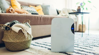 Dehumidifier with touch panel in a living room.