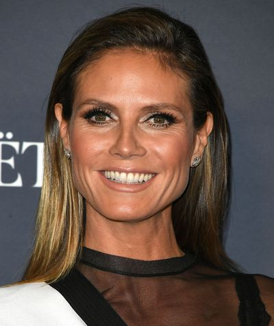 Heidi Klum also opted for dramatic eye makeup and a barely-there lip and it worked. In a big way.