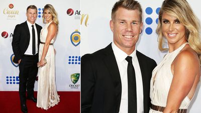 David Warner and his fiance Candice Falzon. (Getty)