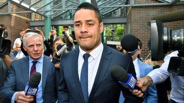 """Jarryd Hayne's barrister Richard Pontello stood and announced """"for benefit of those here, Mr Hayne maintains his innocence and will be pleading not guilty""""."""