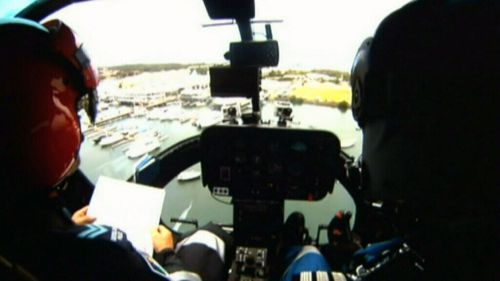 The view from inside the Polair chopper.