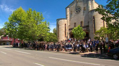 The scene outside St Mary's Catholic Church in North Sydney. (9NEWS)