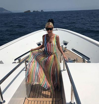 Roxy Jacenko in a Caroline Constas maxi dress in the Amalfi Coast