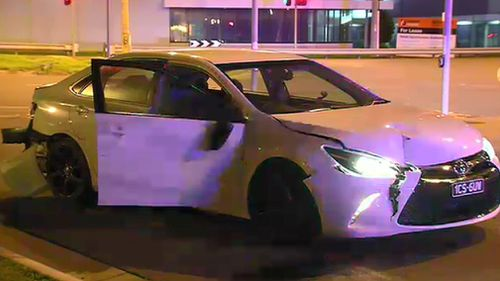 A man has been arrested after two police cars were allegedly rammed.