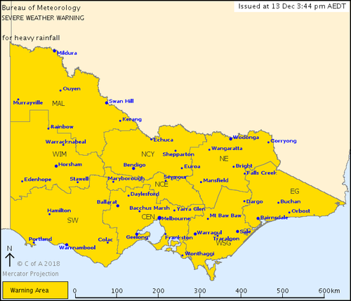 The BoM's latest severe weather warning for heavy rainfall covers the entire state.