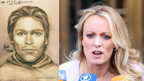 Stormy Daniels and the sketch of her alleged assailant. (AAP)