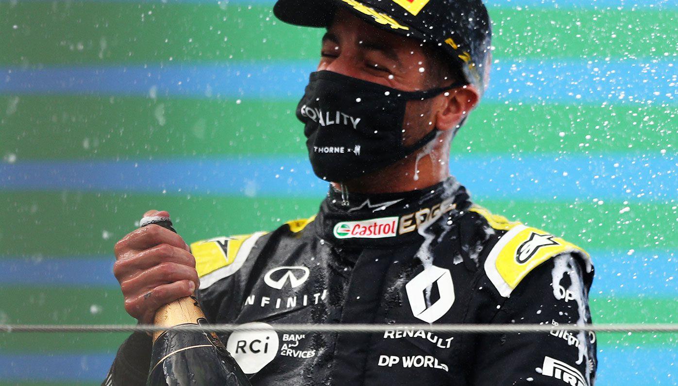 Daniel Ricciardo on the podium at the Eifel Grand Prix.
