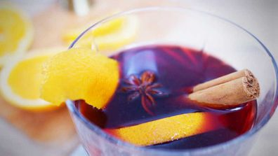 Spiced honey and orange mulled wine with a whiskey kicker