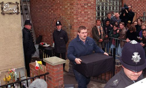 Body parts are removed from 25 Cromwell Street in 1994.