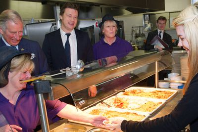 <b>Healthy school dinners</b><br/><br/>Before Jamie Oliver, the world was a lonely place bereft of magnanimous leaders with sensible ideas about eating. <br/><br/>Now, with an obesity epidemic on the rise, the stage is set for an everyday geezer like Jamie to snatch the reins of power on the basis of fresh policies governing improved school dinners. <br/><br/>Jamie means business! He's already rubbing shoulders with royalty to raise awareness of his campaign.    <br/>